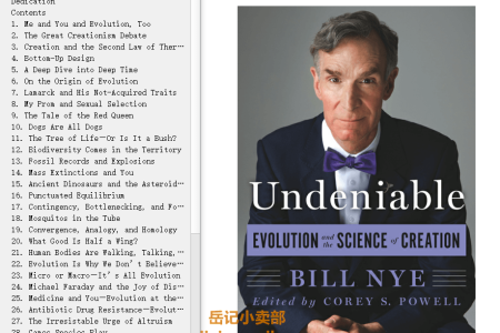 【配音频】Undeniable: Evolution and the Science of Creation (Un... #1) by Bill Nye(mobi,epub,pdf)
