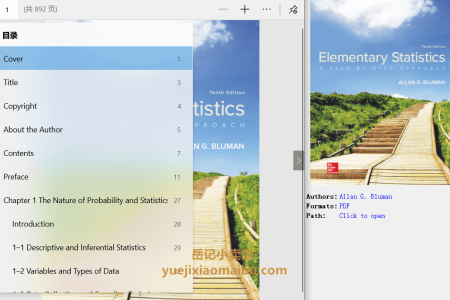 【电子书】Elementary Statistics 10th Edition: A Step By Step Approach by Allan Bluman(pdf)