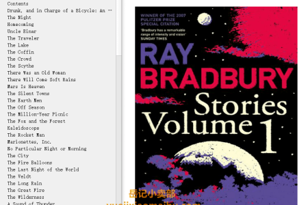 【电子书】Stories Volume 1 by Ray Bradbury(mobi,epub,pdf)