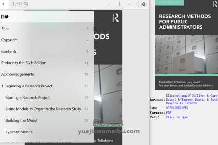 【电子书】Research Methods for Public Administrators 6th Edition by Elizabethann O'Sullivan(pdf)