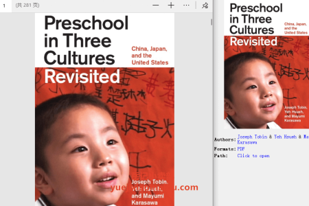 【电子书】Preschool in Three Cultures Revisited: China, Japan, and the United States by Joseph Tobin,  Yeh Hsueh, Mayumi Karasawa(pdf)