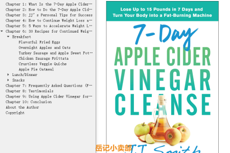 【配音频】7-Day Apple Cider Vinegar Cleanse: Lose Up to 15 Pounds in 7 Days and Turn Your Body into a Fat-Burning Machine by J.J. Smith(mobi,epub,pdf)
