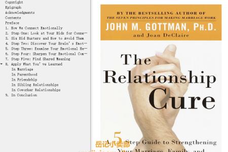【配音频】The Relationship Cure: A 5 Step Guide to Strengthening Your Marriage, Family, and Friendships by John M. Gottman,  Joan DeClaire(mobi,epub,pdf)