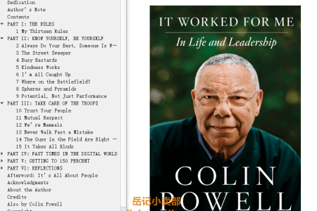 【配音频】It Worked for Me: In Life and Leadership by Colin Powell,  Tony Koltz(mobi,epub,pdf)