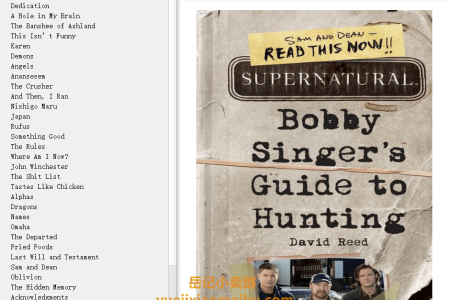 【电子书】Supernatural: Bobby Singer's Guide to Hunting by David Reed(mobi,epub,pdf)