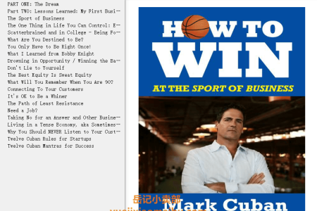 【配音频】How to Win at the Sport of Business: If I Can Do It, You Can Do It by Mark Cuban(mobi,epub,pdf)