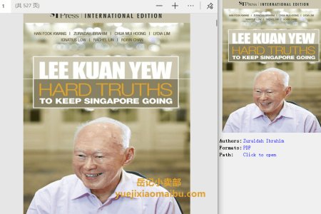 【电子书】Lee Kuan Yew: Hard Truths To Keep Singapore Going by Zuraidah Ibrahim,  Han Fook Kwang, Rachel Lin(pdf)