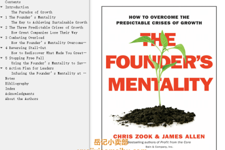 【配音频】The Founder's Mentality: How to Overcome the Predictable Crises of Growth by Chris Zook, James Allen(mobi,epub,pdf)