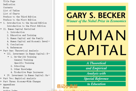 【电子书】Human Capital 3rd Edition: A Theoretical and Empirical Analysis, with Special Reference to Education by Gary S. Becker(mobi,epub,pdf)