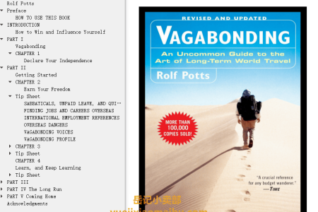 【配音频】Vagabonding: An Uncommon Guide to the Art of Long-Term World Travel by Rolf Potts(mobi,epub,pdf)