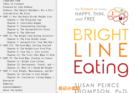 【配音频】Bright Line Eating: The Science of Living Happy, Thin Free by Susan Peirce Thompson, Ph.D.(mobi,epub,pdf)