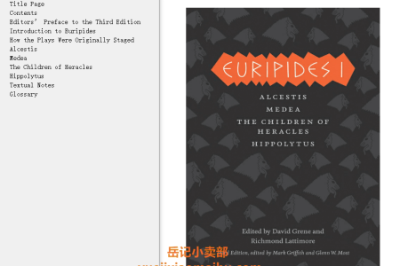 【电子书】Euripides I 3rd Edition: Alcestis, Medea, The Children of Heracles, Hippolytus by Euripides(mobi,epub,pdf)
