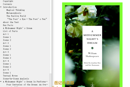 【电子书】A Midsummer Night's Dream by William Shaakesphere(mobi,epub,pdf)