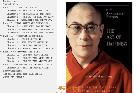 【配音频】The Art of Happiness 10th Anniversary Edition: A Handbook for Living by Dalai Lama XIV,  Howard C. Cutler(mobi,epub,pdf)