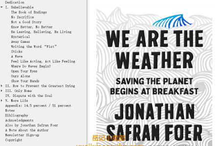 【配音频】We Are the Weather: Saving the Planet Begins at Breakfast by Jonathan Safran Foer(mobi,epub,pdf)