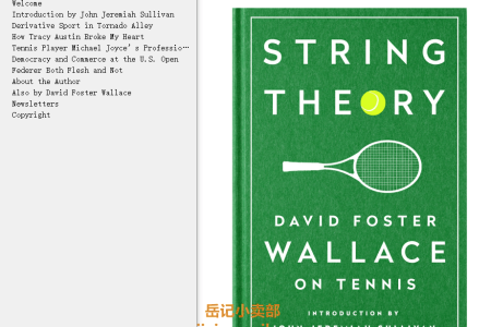 【电子书】String Theory: David Foster Wallace on Tennis by David Foster Wallace(mobi,epub,pdf)