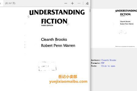 【电子书】Understanding Fiction 3rd Edition by Cleanth Brooks, Robert Penn Warren(pdf)
