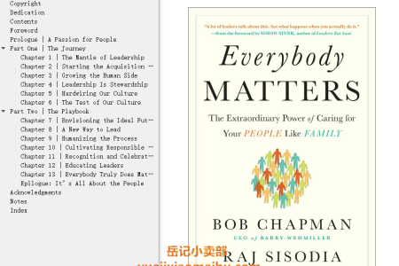 【配音频】Everybody Matters: The Extraordinary Power of Caring for Your People Like Family by Bob Chapman, Raj Sisodia(mobi,epub,pdf)