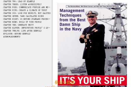 【配音频】It's Your Ship: Management Techniques from the Best Damn Ship in the Navy by D. Michael Abrashoff(mobi,epub,pdf)