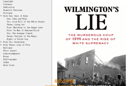 【配音频】Wilmington's Lie: The Murderous Coup of 1898 and the Rise of White Supremacy by David Zucchino(mobi,epub,pdf)