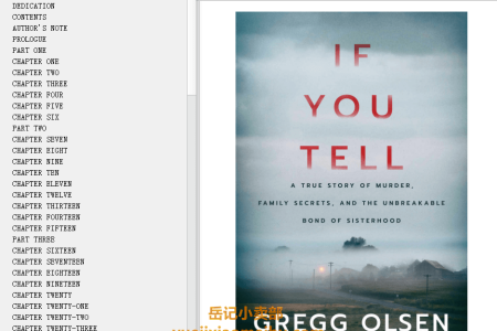 【配音频】If You Tell: A True Story of Murder, Family Secrets, and the Unbreakable Bond of Sisterhood by Gregg Olsen(mobi,epub,pdf)