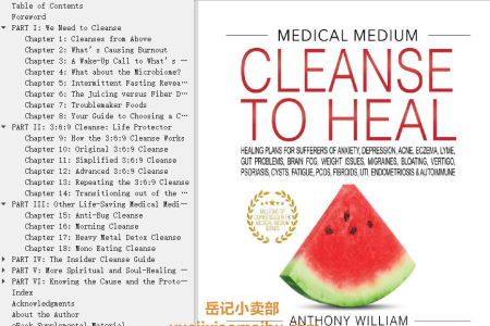 【配音频】Medical Medium Cleanse to Heal: Healing Plans for Sufferers of Anxiety, Depression, Acne, Eczema, Lyme, Gut Problems, Brain Fog, Weight Issues, Migraines, Bloating, Vertigo, Psoriasis, Cysts, Fatigue, Pcos, Fibroids, Uti, Endometriosis & Autoimmune by Anthony William(mobi,epub,pdf)