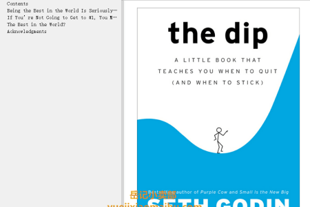 【配音频】The Dip: A Little Book That Teaches You When to Quit (and When to Stick) by Seth Godin(mobi,epub,pdf)