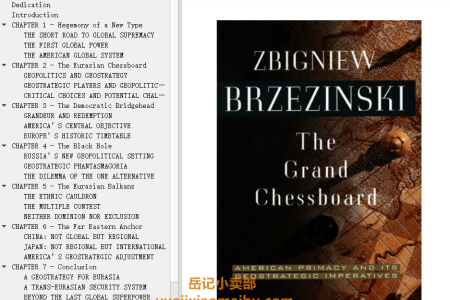 【电子书】The Grand Chessboard: American Primacy and its Geostrategic Imperatives by Zbigniew Brzeziński(mobi,epub,pdf)