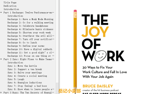 【配音频】The Joy of Work: 30 Ways to Fix Your Work Culture and Fall in Love With Your Job Again by Bruce Daisley(mobi,epub,pdf)