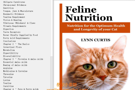 【电子书】Feline Nutrition: Nutrition for the Optimum Health and Longevity of your Cat by Lynn Curtis(mobi,epub,pdf)