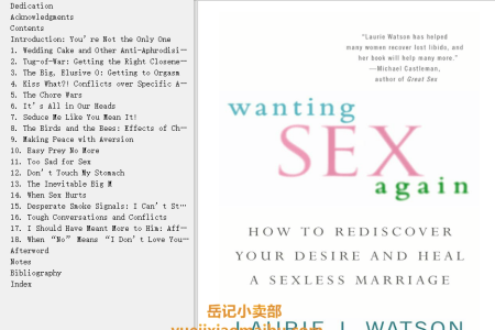 【电子书】Wanting Sex Again: How to Rediscover Your Desire and Heal a Sexless Marriage by Laurie Watson(mobi,epub,pdf)