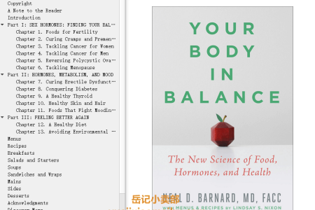 【配音频】Your Body in Balance: The New Science of Food, Hormones, and Health by Neal D. Barnard(mobi,epub,pdf)