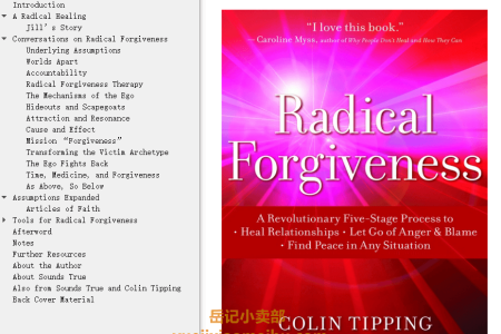 【配音频】Radical Forgiveness: A Revolutionary Five-Stage Process to:- Heal Relationships- Let Go of Anger and Blame- Find Peace in Any Situation by Colin C. Tipping(mobi,epub,pdf)