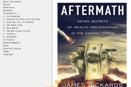 【配音频】Aftermath: Seven Secrets of Wealth Preservation in the Coming Chaos by James Rickards(mobi,epub,pdf)