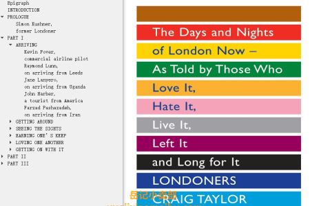 【配音频】Londoners: The Days and Nights of London Now - As Told by Those Who Love It, Hate It, Live It, Left It, and Long for It by Craig Taylor(mobi,epub,pdf)