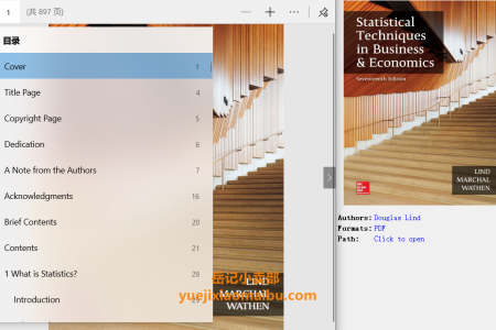 【电子书】Statistical Techniques in Business and Economics 17th Edition by Douglas Lind , William Marchal , Samuel Wathen(pdf)