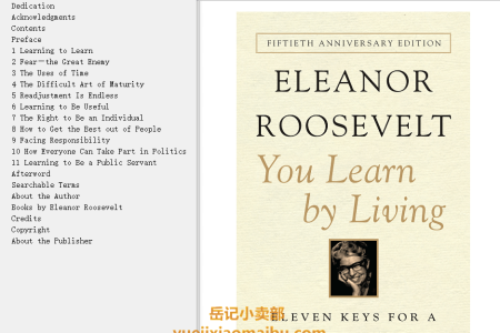 【配音频】You Learn by Living: Eleven Keys for a More Fulfilling Life by Eleanor Roosevelt(mobi,epub,pdf)