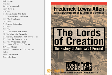 【配音频】The Lords of Creation: The History of America's 1 Percent (Forbidden Bookshelf) by Frederick Lewis Allen(mobi,epub,pdf)