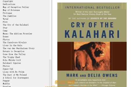 【配音频】Cry of the Kalahari by Mark Owens, Delia Owens(mobi,epub,pdf)