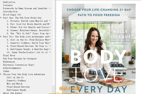【配音频】Body Love Every Day: Choose Your Life-Changing 21-Day Path to Food Freedom by Kelly LeVeque(mobi,epub,pdf)