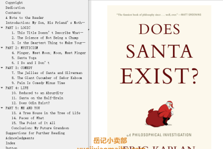 【配音频】Does Santa Exist?: A Philosophical Investigation by Eric Kaplan(mobi,epub,pdf)