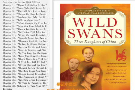 【配音频】Wild Swans: Three Daughters of China by Jung Chang(mobi,epub,pdf)