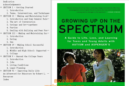 【电子书】Growing Up on the Spectrum: A Guide to Life, Love, and Learning for Teens and Young Adults with Autism and Asperger's by Claire LaZebnik , Lynn Kern Koegel(mobi,epub,pdf)