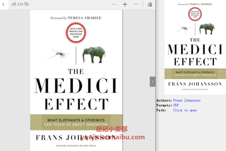 【配音频】The Medici Effect: What Elephants and Epidemics Can Teach Us about Innovation by Frans Johansson(pdf)