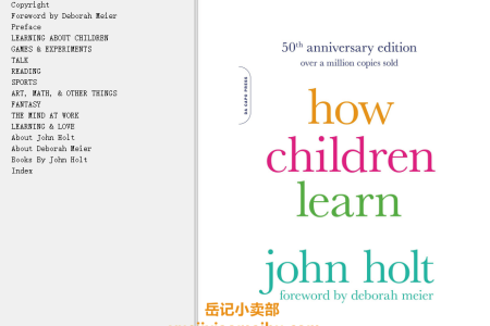 【配音频】How Children Learn 50th Anniversary Edition (Classics in Child Development) by John Holt(mobi,epub,pdf)
