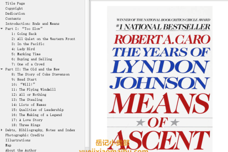 【配音频】Means of Ascent (The Years of Lyndon Johnson #2) by Robert A. Caro(mobi,epub,pdf)