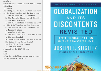 【电子书】Globalization and Its Discontents Revisited: Anti-Globalization in the Era of Trump by Joseph E. Stiglitz(mobi,epub,pdf)