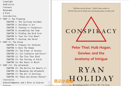 【配音频】Conspiracy: Peter Thiel, Hulk Hogan, Gawker, and the Anatomy of Intrigue by Ryan Holiday(mobi,epub,pdf)