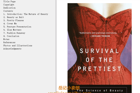 【配音频】Survival of the Prettiest: The Science of Beauty by Nancy L. Etcoff(mobi,epub,pdf)