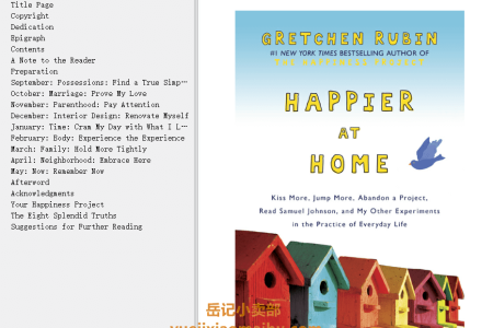 【配音频】Happier at Home: Kiss More, Jump More, Abandon a Project, Read Samuel Johnson, and My Other Experiments in the Practice of Everyday Life (The Happiness Project #2) by Gretchen Rubin(mobi,epub,pdf)